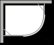 QBCC : Semicircular con puerta batiente para plato de ducha de 38 cm de radio.