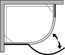 QBCL : Semicircular con puerta batiente para plato de ducha de 38 cm de radio.