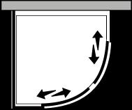 QSSC + QUFI R38 : Semicircular con dos puertas correderas con lateral fijo para plato de ducha de 38 cm de radio.