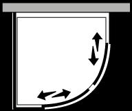 LSSC + LKFI : Semicircular 2 hojas correderas con lateral fijo (componible angular)