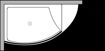 VLPTL + VLFI + VLPO : Plato de ducha de 140 cm de ancho con vidrio fijo y puerta